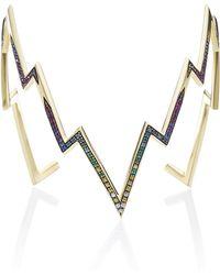 Venyx - Gold, Rhodium And Multicolored Stone Miss Zeus Arm Cuff - Lyst