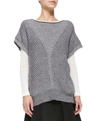 Halston Heritage Short Sleeve Poncho With Stitch Detail - Lyst