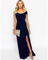 Love Off Shoulder Wrap Maxi Dress With Thigh Split blue - Lyst