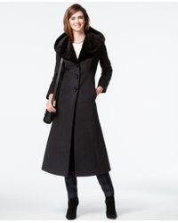 Forecaster - Wool-cashmere-blend Velvet-trim Maxi Coat - Lyst