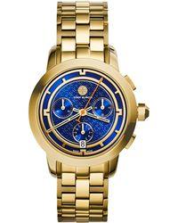 Tory Burch 37Mm Tory Chronograph Golden Bracelet Watch - Lyst
