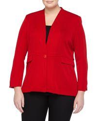 Misook Stretch-Knit Peplum Blazer, Cardinal Red - Lyst