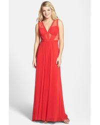 La Femme Lace & Jersey Gown - Lyst