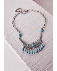 Missguided Semi-Precious Stone Drop Necklace Silver - Lyst