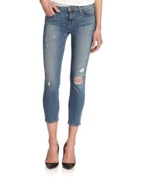 J Brand Mid-Rise Distressed Cropped Skinny Jeans blue - Lyst