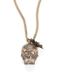 Alexander McQueen | Butterfly Skull Crystal Pendant Necklace | Lyst