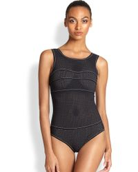 Karla Colletto Perforated One-Piece Tank Swimsuit - Lyst