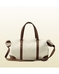 Gucci Convertible Canvas Top Handle Duffle Bag - Lyst