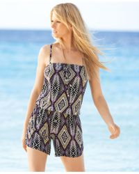 INC International Concepts - Strapless Printed Blouson Romper - Lyst
