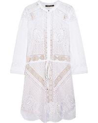 Roberto Cavalli Broderie Anglaise Cotton Mini Dress - Lyst