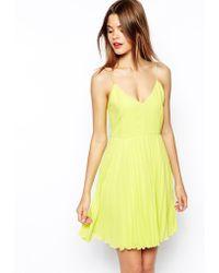 Asos Cami Mini Pleated Dress - Lyst