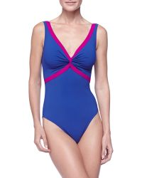 Karla Colletto Twist-Front Contrast One-Piece - Lyst