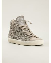Leather Crown Animal Print Hitop Sneakers - Lyst