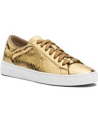 MICHAEL Michael Kors Lace Up Sneakers - Keaton Metallic Snake - Lyst