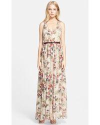 Haute Hippie  Floral Print Silk Georgette Gown - Lyst