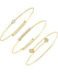 Vince Camuto - Crystal Accented Set Of 3 Bangle Bracelets - Lyst
