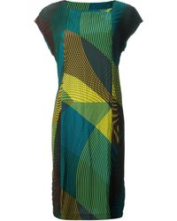 Issey Miyake Abstract Patterned Dress - Lyst