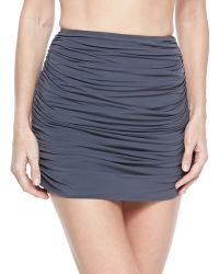Norma Kamali Shirred Mini Swim Skirt - Lyst