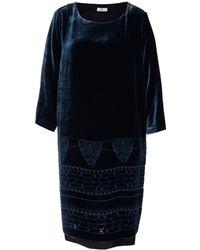 Day Birger Et Mikkelsen Navy Dulcet Burnout Velvet Dress - Lyst