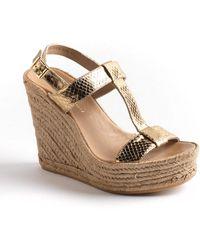 Delman - Trish Leather Platform Wedge Sandals - Lyst