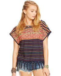 Ralph Lauren Embroidered Fringed Tee - Lyst