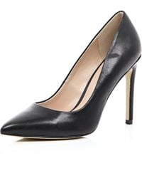 River Island Black Leather Court Shoes - Lyst
