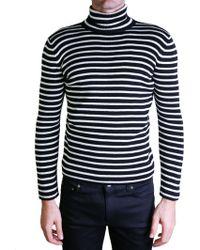 Saint Laurent | Black And White Turtleneck Sweater | Lyst