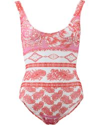 Fuzzi | pink Scarf Print Bathing Suit | Lyst