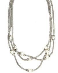 Anne Klein - Triple Pearl Necklace - Lyst