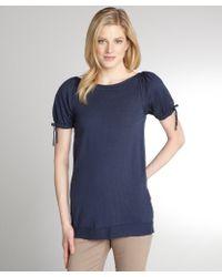 RED Valentino Blue Fleece Wool Knit Short Sleeve Sweater - Lyst