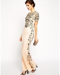 Asos Red Carpet Baroque Embellished Fishtail Maxi - Lyst