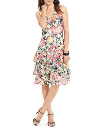 Ralph Lauren Lauren Floral Print Tier Dress - Lyst