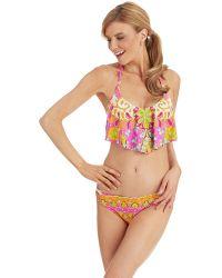 Trina Turk Woodblock Floral Crop Swim Top - Lyst