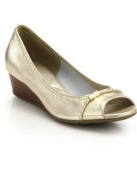 Cole Haan Tali Open-Toe Low-Heeled Metallic Leather Wedges gold - Lyst