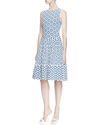 Alexander McQueen Embossed Cut Out Flower Jacquard Dress - Lyst