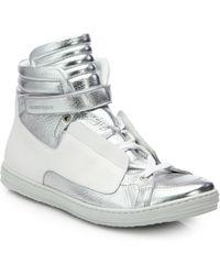 Pierre Hardy Metallic Leather High-Top Sneakers - Lyst