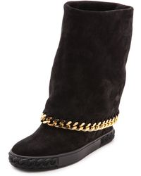 Casadei Hidden Wedge Fold Over Boots Black - Lyst