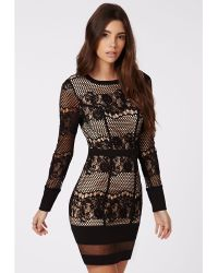 Missguided Candy Lace Long Sleeve Mini Dress Black - Lyst