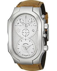 Philip Stein Chronograph Swiss Signature Watch With Light Grey Dial On Mustard Assolutamente Strap - Lyst