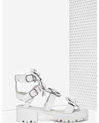 Nasty Gal Quad Leather Sandal white - Lyst