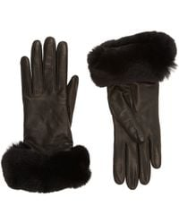 Barneys New York Black Fur-Cuff Gloves - Lyst