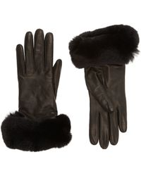 Barneys New York Fur-Cuff Gloves - Lyst