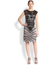 Sue Wong Floral Embroidered Sheath Dress - Lyst