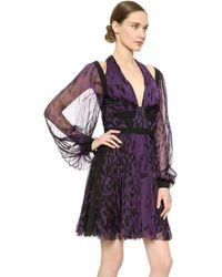 J. Mendel Long Sleeve Pleated Dress - Violet - Lyst