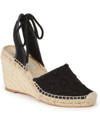 Stella McCartney Lace Espadrille Wedge Sandals - Lyst