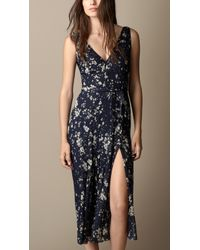 Burberry Floral Print Silk Crépon Dress - Lyst
