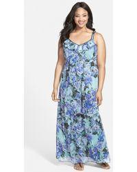 Jessica Simpson 'Marta' Floral Print Ruffle Trim Maxi Dress - Lyst