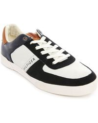 Tommy Hilfiger Maddox White/Navy Leather And Suede Sneakers - Lyst