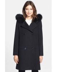 Fleurette - Genuine Fox Fur Trim Hooded Wool Duffle Coat - Lyst