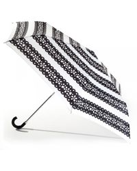 Lulu Guinness Superslim Picado Flower Umbrella black - Lyst